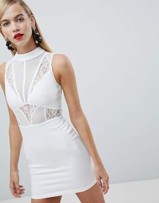 Rare London high neck lace panel mini dress