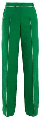 Valentino High Rise Straight Leg Cotton Blend Trousers - Womens - Green