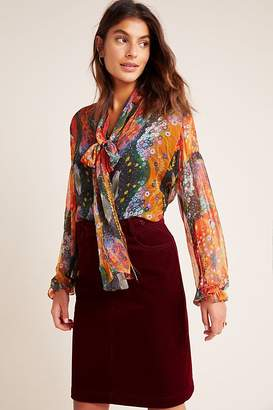 Arnie Neck-Tie Floral-Print Blouse