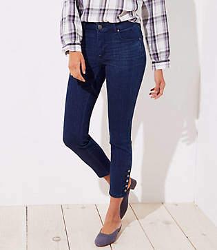 LOFT Tall Curvy Button Cuff Skinny Jeans in Rich Mid Indigo Wash