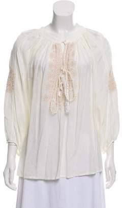 Melissa Odabash Draped Embroidered Blouse