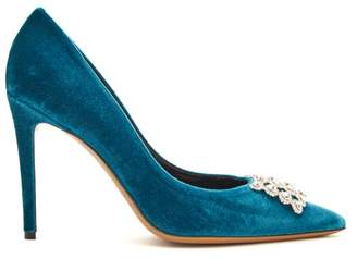 Alexandre Vauthier Othilia Crystal Embellished Velvet Pumps - Womens - Blue