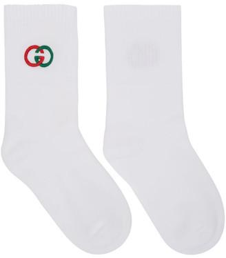 Gucci White Interlocking G Tennis Socks