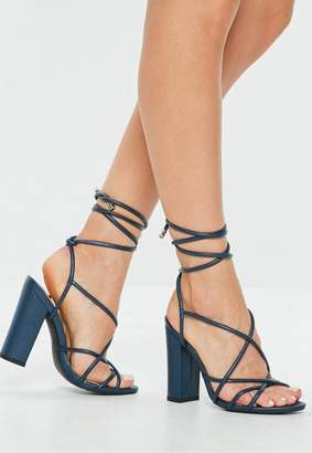 Missguided Blue Multi Strap Block Heel Sandal