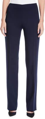 Akris Carole Flat-Front Straight-Leg Wool Double-Face Pants