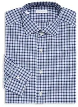 Boglioli Slim-Fit Plaid Cotton Dress Shirt