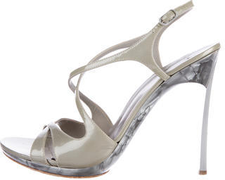 Casadei Patent Leather Crossover Sandals $75 thestylecure.com