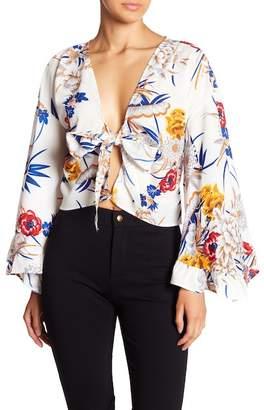 Haute Rogue Floral Tie Front Blouse