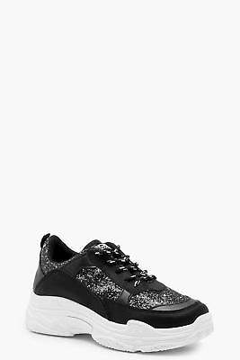 boohoo NEW Womens Glitter Chunky Sole Trainers in