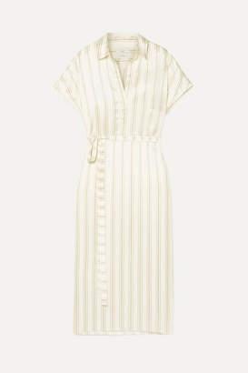 Co Belted Striped Satin-twill Midi Dress - Cream