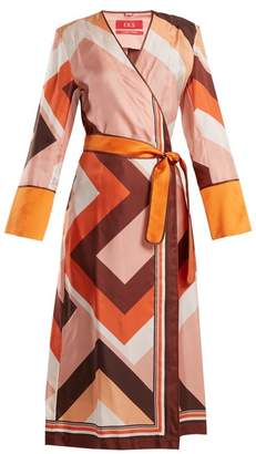 F.r.s - For Restless Sleepers - Dolos Geometric Print Silk Wrap Dress - Womens - Orange Print