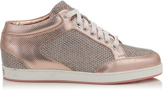 Jimmy Choo MIAMI Tea Rose Metallic Printed Leather and Glitter Low Top Trainers