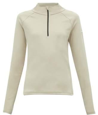 BEIGE Capranea - Zipped Funnel Neck Fleece Back Sweater - Womens