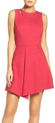 Women's Adelyn Rae Asymmetrical Ponte Fit & Flare Dress $92 thestylecure.com