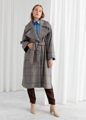 And other stories Belted Plaid Coat Cape