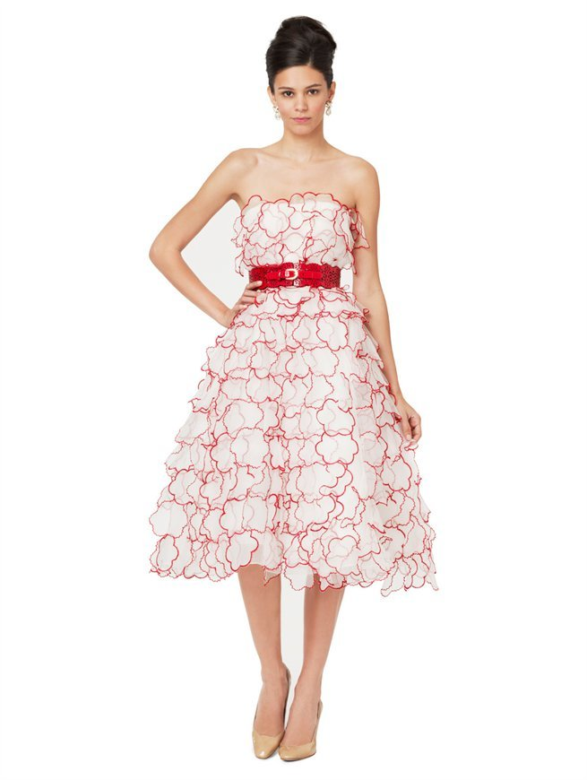 Oscar de la Renta Strapless Cocktail Dress With Floral Appliques