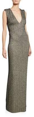 St. John Shimmer Knit Column Gown w/ Crisscross Back