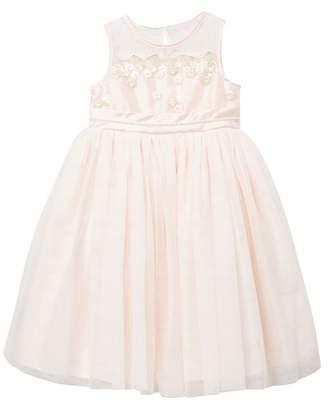 Pippa & Julie Floral Embroidered Mesh Top & Skirt Dress (Little Girls)