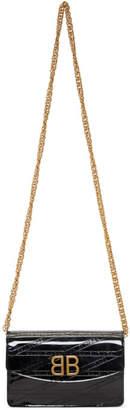 Balenciaga Black Patent BB Chain Wallet Bag
