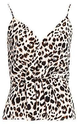 L'Agence Women's Chiara Leopard Print Silk Camisole