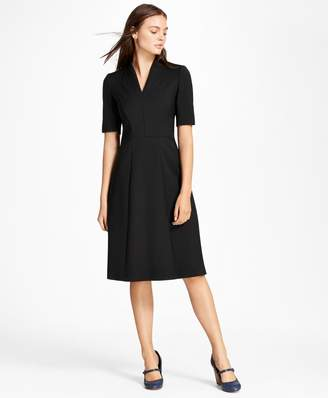 Brooks Brothers Double-Weave Stretch Wool Stand Collar Dress