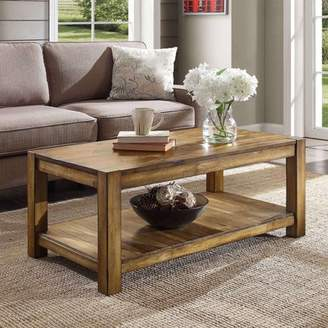 Better Homes & Gardens Bryant Solid Wood Coffee Table, Rustic Maple Brown Finish