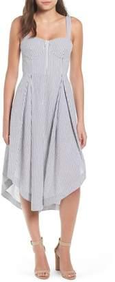 KENDALL + KYLIE Kendall & Kylie Seersucker Bustier Midi Dress