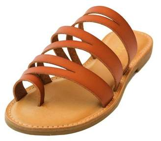 Bamboo Strappy Slide-On Sandals
