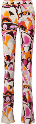 Emilio Pucci Printed Jersey Flared Pants - Pink