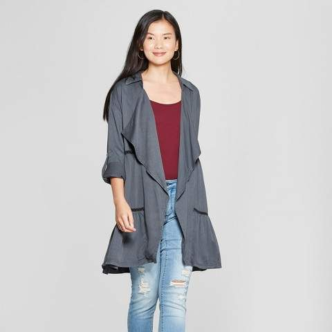 Knox Rose Women's Long Sleeve Crochet Trim Open Layering Jacket - Knox Rose Charcoal