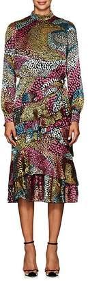 Saloni Women's Isa Ruffled Dot Devoré Dress