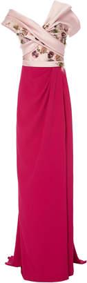 Marchesa Silk Satin Mikado Strapless Column Gown