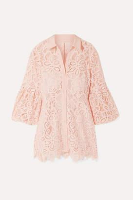Lela Rose Crepe-trimmed Corded Lace Shirt - Blush