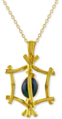 "Kesi Jewels Dyed Freshwater Pearl (8x6mm) 16"" Pendant Necklace in 18k Gold-Plated Sterling Silver"