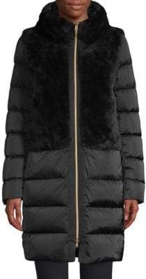Herno Plush Satin Faux Fur Puffer Coat