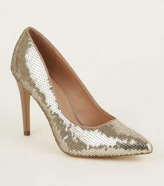 New Look Gold Sequin Pointed Heeled Court Shoes