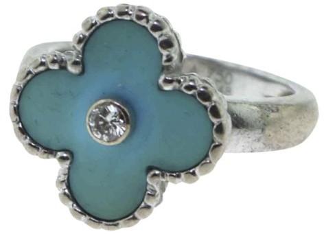Van Cleef & ArpelsVan Cleef & Arpels Alhambra Turquoise Diamond Gold Ring Size 5.25