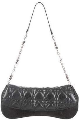 Christian Dior Cannage Leather & Canvas Shoulder Bag