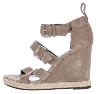 Balenciaga Leather Espadrille Wedge Sandals