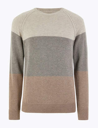 Marks and Spencer Striped Crew Neck Jumper with Wool and Alpaca