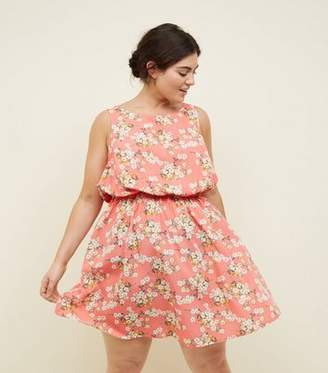 New Look Curves Coral Floral Shirred Waist Sleeveless Dress