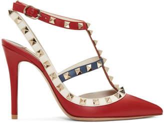 Valentino Multicolor Garavani Rockstud Ankle Strap Heels