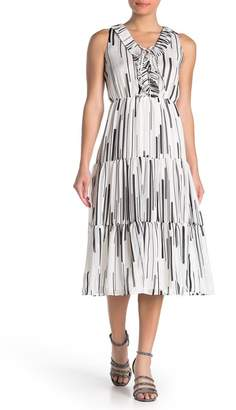 Taylor Striped Ruffled Chiffon Midi Dress