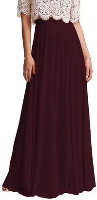 Omleas Omelas Women Long Floor Length Chiffon High Waist Skirt Maxi Bridesmaid Pary Dress (, L)
