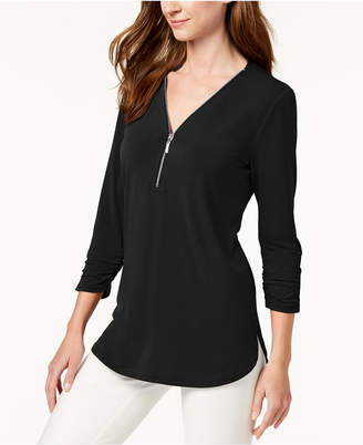 JM Collection Zipper-Trim 3/4-Sleeve Top