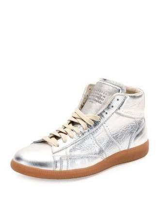Maison Margiela Replica Metallic Leather Mid-Top Sneaker, Silver/Amber $690 thestylecure.com