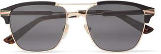 Gucci Endura Square-Frame Acetate and Gold-Tone Sunglasses - Men - Black