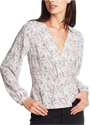 1 STATE 1.state Long-Sleeve Floral Print Top