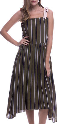 ENGLISH FACTORY Shadow-Stripe Tie-Strap Dress