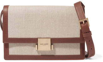Saint Laurent Bellechasse Medium Leather-trimmed Canvas Shoulder Bag - Beige